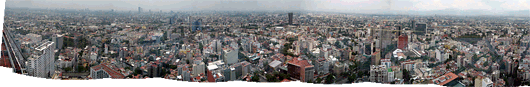 Mexico city panoraam World Trade Center'i otsast läbi akna