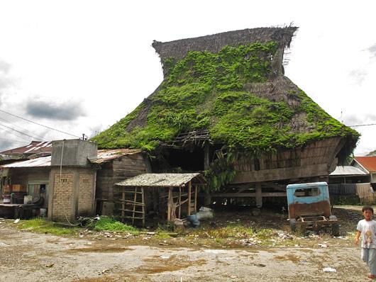 Sammaldunud bataki hoone katus Linggas